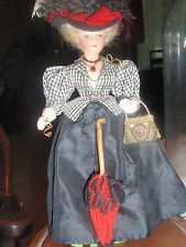 Fashion Wax? Head Doll in Turn of Century Full Detailed Outfit 8 In Glass Case
