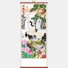 CHINESE WALL HANGING SCROLL - CRANES & WATERFALL - 82cm LENGTH - FREE UK P&P