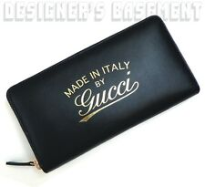 GUCCI black Leather Gold CRAFT TRADEMARK stamp Zip Around Wallet NIB Authentic!