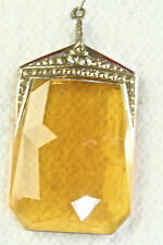 VTG ANTIQUE ART DECO ERA AMBER YELLOW MOLDED CZECH GLASS PENDANT LAVALIERE