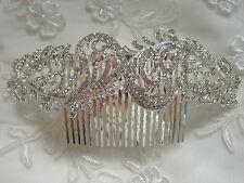 Diamante cristal argent long cheveux peigne style vintage mariage accessoires