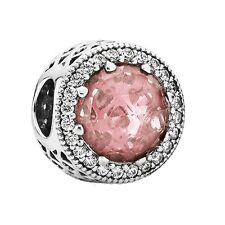 Authentic Pandora Silver NEW Radiant Hearts Blush Pink Crystal Charm 791725NBP