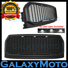 15-16 Ford F150 Raptor Matte Black Full Replacement Mesh Grille+Shell+White LED