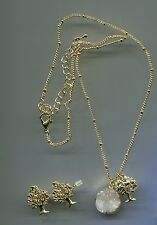 "17"" to 20"" long Yellow Gold Plated White Druzy & Tree of Life Necklace Set"