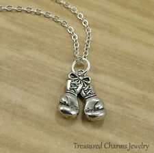 Silver Boxing Gloves Charm Necklace - Boxer Strength Fighter Pendant Jewelry NEW
