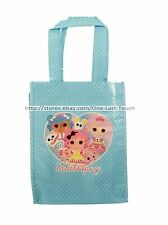 LALALOOPSY Plastic Reusable SHOPPING BAG Tote/Purse BLUE+WHITE POLKA DOTS New!