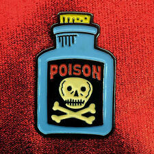 "1"" Poison Bottle skull crossbones badge pinback lapel pin"