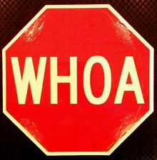 WHOA  Street Wise Door Stop Sign for Bedroom Dorm Office Stables Man Cave New
