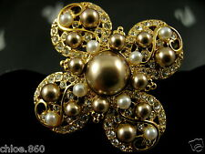 SIGNED SWAROVSKI GOLD PLATED CRYSTAL~ PEARL CROSS  PIN ~ BROOCH RETIRED NWT NEW