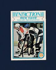 Rick Vaive signed Toronto Maple Leafs 1982 Opee Chee In Action hockey card