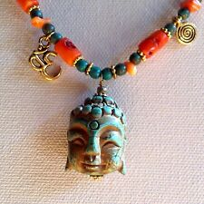 Ethnic Necklace Gold Om Charm Carved Turquoise Buddha Head Pendant Orange Coral