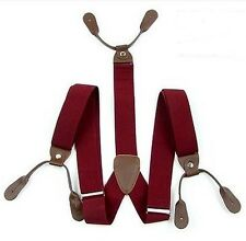 NEW ADJUSTABLE DARK RED MENS BRACES SUSPENDERS WIDE THICK 3.5 CM 6 BUTTON CITY