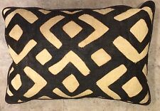LARGE Designer Vintage Kuba Cloth Italian Leather Pillow Down/feather zipper