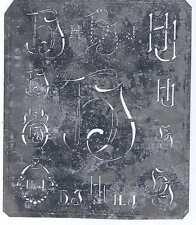 Große Monogramm Schablone  HJ   Jugendstil Weißblech 16,5 x 18 cm Weissstickerei