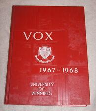Vox 1967-1968 Yearbook University of Winnipeg Manitoba Canada - very good