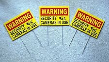 3 WARNING SECURITY CAMERAS IN USE Coroplast YARD SIGNS 8x12 w/ Stakes Security Y