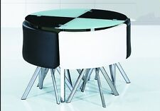 New space saver Black & white  round Glass Dining Table + 4 Chairs Set