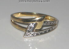 EXQUISITE ESTATE 10K TWO TONE GOLD LIGHTENING BOLT UNISEX RING Size 10