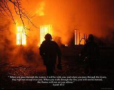 Religious Motivational Poster Print Art Firefighting Isaiah 43:2 11x14 RELG10