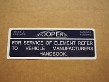 Mk1 Mk2 Mini Cooper S Air Box Coopers Filter Sticker  1960s 1970s