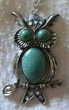 Silver Owl Necklace Pendant Turquoise Blue Crystal