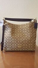 NWT Coach Outline Signature Celeste Hobo Crossbody Bag Brown Khaki F 55365 IMC7C