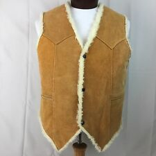 VTG LLB Mexico Suede Leather Rancher Sherpa Fleece Lined Vest 42 Shearling