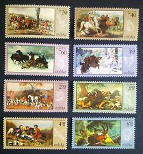 POLAND STAMPS MNH Fi1743-50 Sc1628-35 Mi1890-97 - Hunting in painting,1968,clean