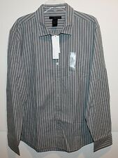 Calvin Klein Jeans Mens Gray Striped Button-Front Shirt NEW $59 XL