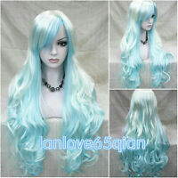 Multi-Color Mixed Rainbow Lolita Big Wavy Curly Long Anime Cosplay + wig cap