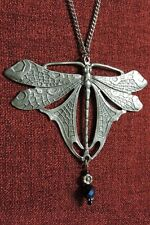 Dragonfly Medieval Celtic Dragon Pagan Crystal Silver Pewter Pendant Necklace