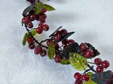 Glass Pepper Berry and Green Leaf Garland on Twisted Wire, approx 5 ft