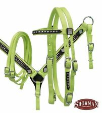Showman PONY LIME GREEN Nylon Bridle, Breast Collar & Rein w/ Rhinestone Conchos