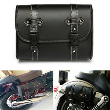 Universal Motorcycle Saddle Luggage Leather Bag Storage Tool Pouch For Harley