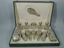 Art Nouveau Vanity Set - Antique Traveling Case - French 950 Silver - Kotowski