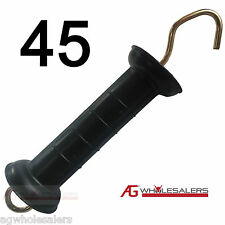 45 x ELECTRIC FENCE SPRING GATE HANDLE LARGE SHIELD HEAVY DUTY S SOLAR ENERGISER