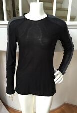 ZARA Collection W&B Black Semi Sheer Knit w/ Gray Contrast Panel Pullover Top M