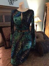 Vince Camuto blue and green dress size 6
