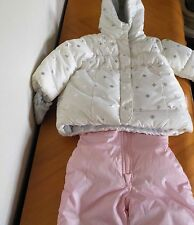 NWOT Carter's 12m Snow suit pants coat pink white mittens jacket