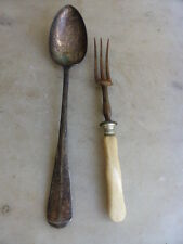 Antique silver plated basting spoon + meat fork