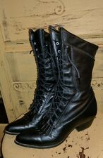 VINTAGE DURANGO KILTY BLACK LEATHER GRANNY BOOTS GOTH WICCA 5.5 M 6 BOHEMIAN