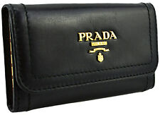 $295 PRADA Black Leather VITELLO SHINE Key Case Holder Ring Chain NEW COLLECTION