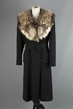 Vtg Women's 1940s Black Wool Dorice Coat w/ Full Fur Collar 40s Size M #1254