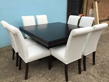 Australian Made Tasmanian Oak 1500mm Square Table Set with leather chairs