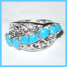 Arizona Sleeping Beauty Turquoise  Ring Platinum over Sterling Silver 925 sz 6