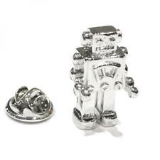 Silver Plated Square Robot LAPEL PIN Badge Professor Geek Present GIFT BOX