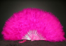 "MARABOU FEATHER FAN - FUSCHIA Feathers 12"" x 20"" Burlesque/Wedding/Costume"