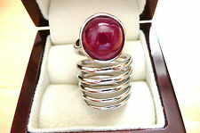 RED CABOCHON RUBY 925 SILVER SPIRAL DESIGNER LONG RING SZ K US SIZE 5.5