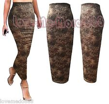 NEW Womens Party Club Summer Tight Fit Slim Maxi Long Skirt Dress Leopard LARGE