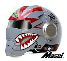 Masei 610 F4 Phantom US Air Force Military Bike Motorcycle Helmet Silver Harley